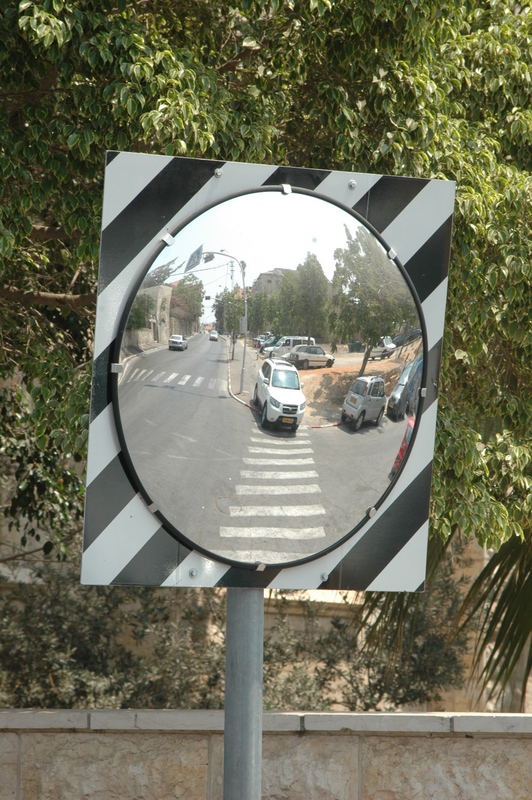 round mirror 75 cm with sign